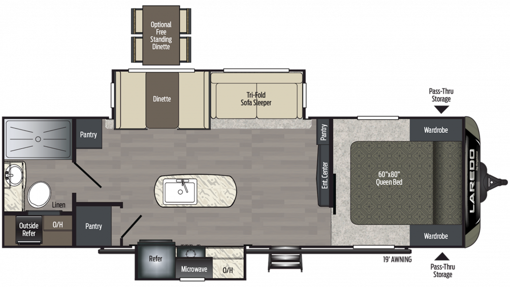 2019 Laredo 280RB Floor Plan Img