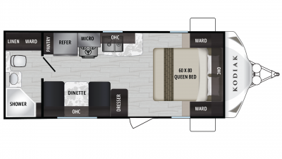 Kodiak Ultra Lite 201QB Floor Plan - 2020