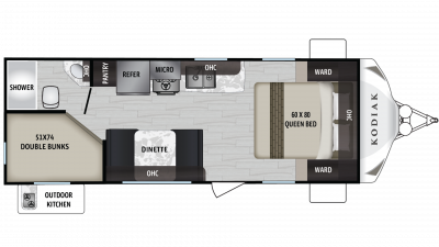 Kodiak Ultra Lite 227BH Floor Plan - 2020