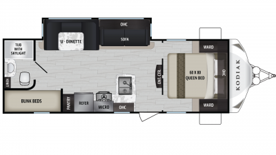 Kodiak Ultra Lite 255BHSL Floor Plan - 2020