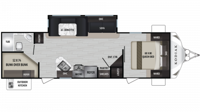 Kodiak Ultra Lite 289BHSL Floor Plan - 2020