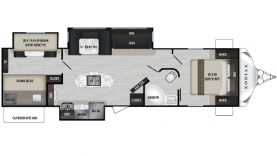 Kodiak Ultra Lite 331BHSL Floor Plan - 2020