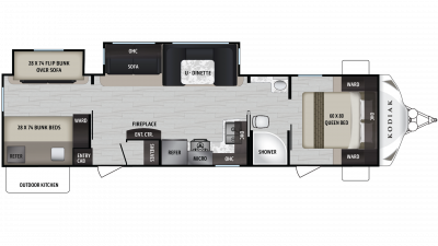 Kodiak Ultra Lite 332BHSL Floor Plan - 2020