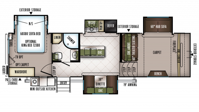 2018 Flagstaff Classic Super Lite 8529FLS Floor Plan