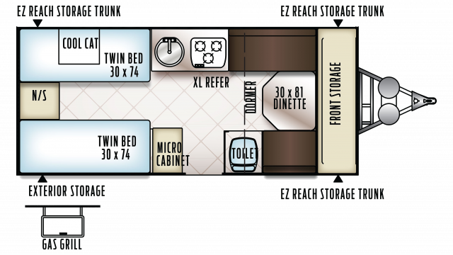 2018 Flagstaff Hard Side 21TBHW Floor Plan