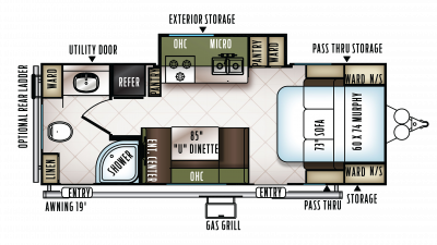 2018 Flagstaff Micro Lite 25KS Floor Plan