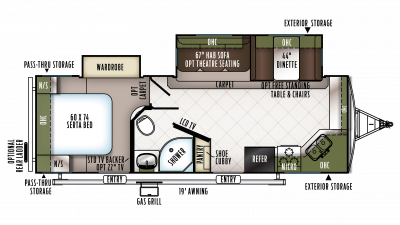 2018 Flagstaff Super Lite 26FKSB Floor Plan