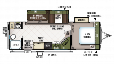 2018 Flagstaff Super Lite 26RBWS Floor Plan