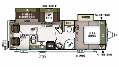 2018 Flagstaff Super Lite 26RLWS Floor Plan