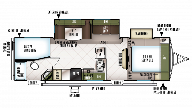 2018 Flagstaff Super Lite 27BEWS Floor Plan