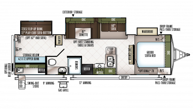2018 Flagstaff Super Lite 29BHWS Floor Plan