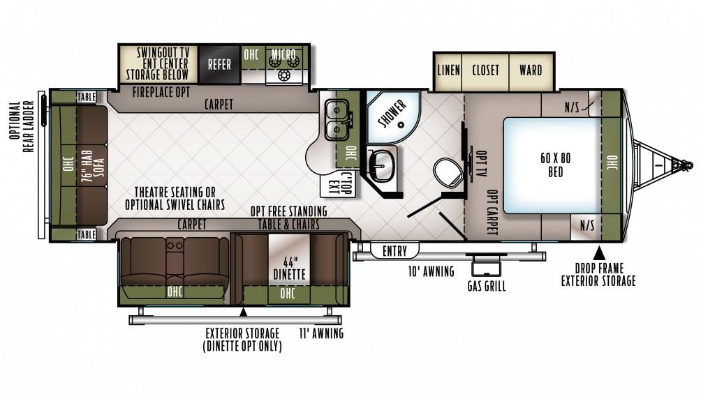 2018 Flagstaff Super Lite 29KSWS Floor Plan