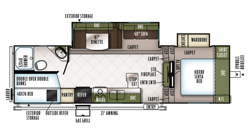 2018 Flagstaff Super Lite 527BHWS Floor Plan Img