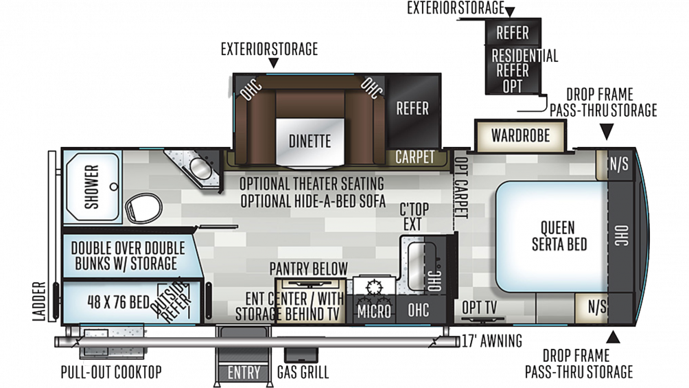 2019 Flagstaff Super Lite 26BWS Floor Plan Img