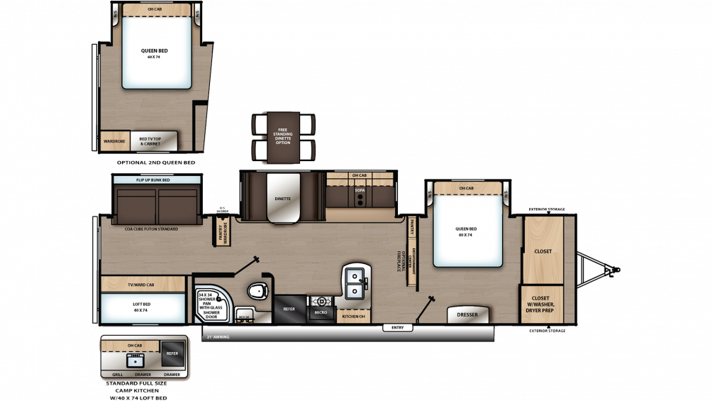 2020 Catalina Legacy Edition 343BHTS Floor Plan Img