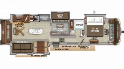 2019 North Point 377RLBH Floor Plan Img
