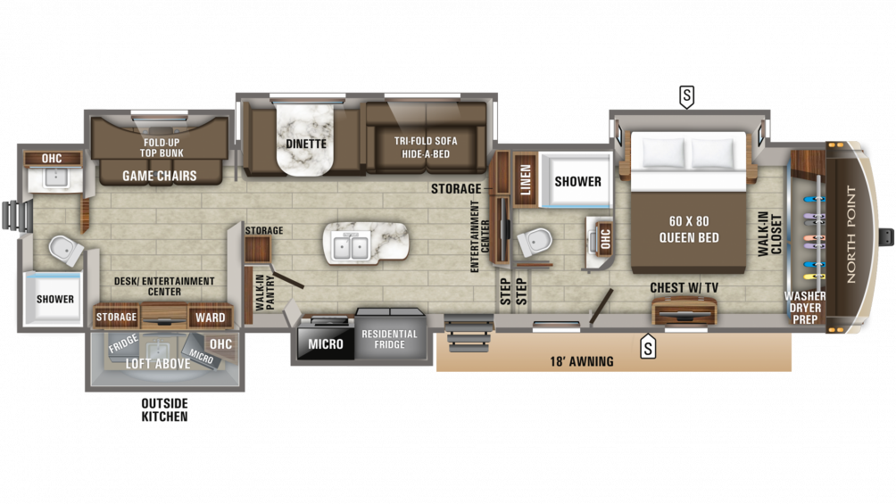 2019 North Point 379DBFS Floor Plan Img