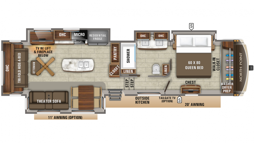 2019 North Point 381DLQS Floor Plan Img