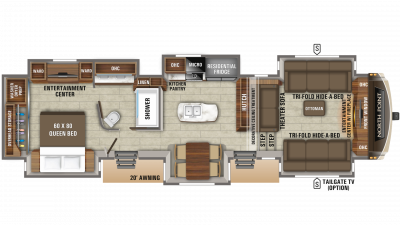 2019 North Point 381FLWS Floor Plan Img