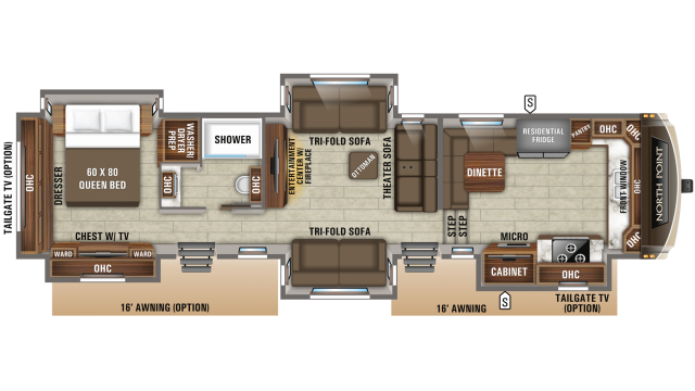 2019 North Point 383FKWS Floor Plan