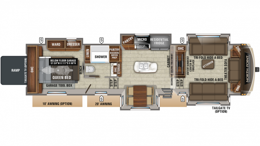 2019 North Point 385THWS Floor Plan Img
