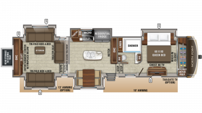 2019 North Point 387RDFS Floor Plan Img