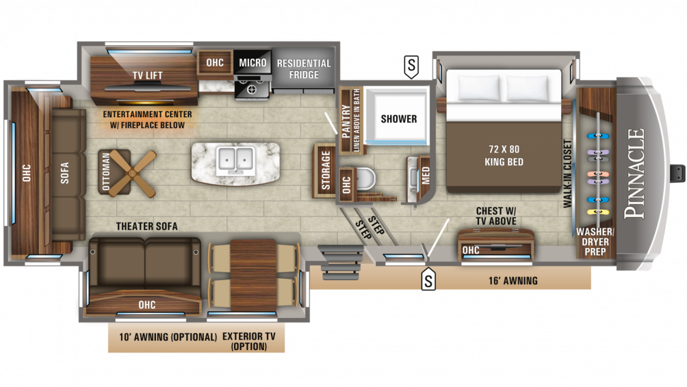 2019 Pinnacle 32RLTS Floor Plan Img