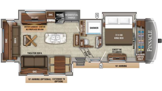 2019 Pinnacle 32RLTS Floor Plan