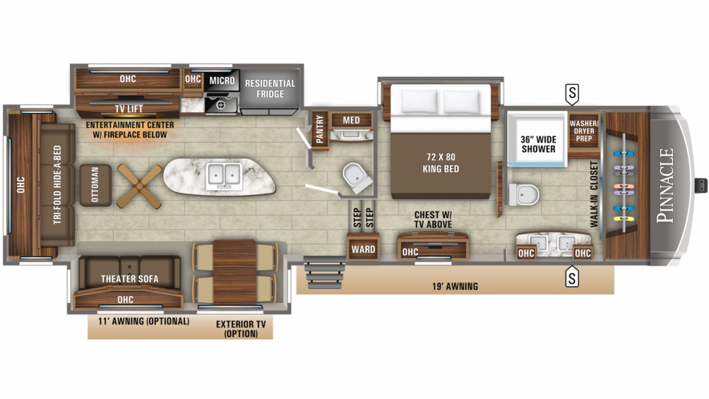 2019 Pinnacle 36FBTS Floor Plan Img