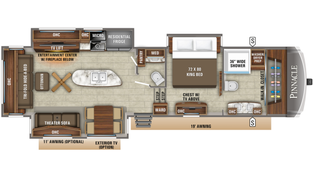 2019 Pinnacle 36FBTS Floor Plan