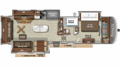 2019 Pinnacle 36KPTS Floor Plan Img