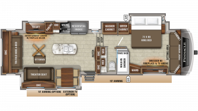 2019 Pinnacle 36SSWS Floor Plan Img