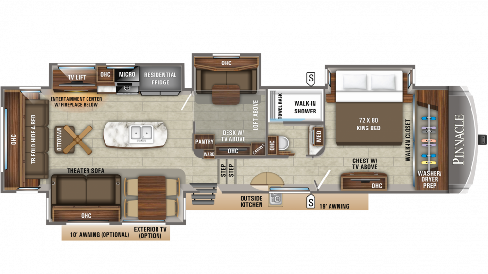 2019 Pinnacle 37MDQS Floor Plan Img