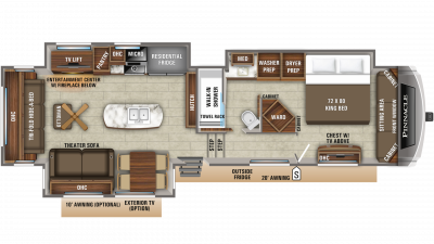 2019 Pinnacle 37RLWS Floor Plan Img