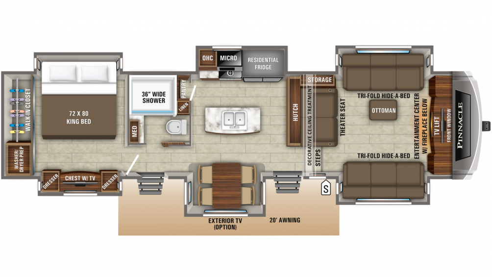 2019 Pinnacle 38FLWS Floor Plan Img