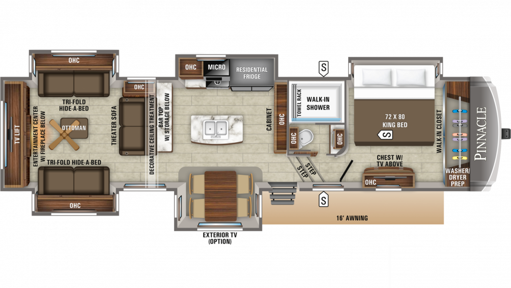 2019 Pinnacle 38REFS Floor Plan Img