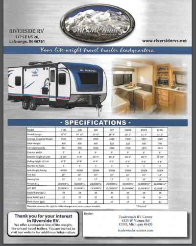 2018 Riverside Mt. McKinley RV Brochure Cover