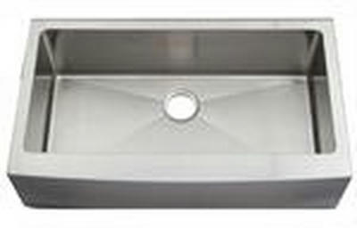 "36"" Near Zero Radius Curved Front Stainless Steel Single Bowl Apron Kitchen Sink 15 Gauge NZRA-3620"