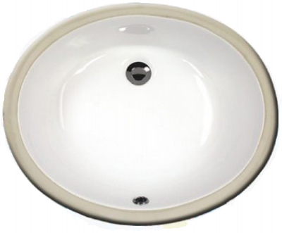 "Sienna 17"" bathroom vanity sink - porcelain china undermount 2209, White Bisque Black"