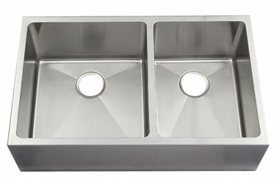 "33"" Near Zero Radius Flat Front Stainless Steel Double Bowl Apron Kitchen Sink 15 Gauge NZR-3320FF"