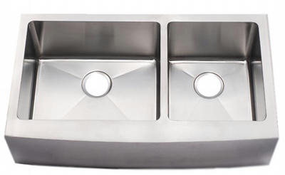 "33"" Near Zero Radius Curved Front Stainless Steel Double Bowl Apron Sink NZRA-3320DB"