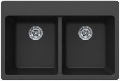 "33"" Lexington Drop-In or Undermount Composite Granite  Double Bowl Sink 370-DOM Black"