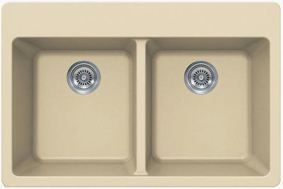 "33"" Lexington Drop-In or Undermount Composite Granite  Double Bowl Sink 372-DOM Beige"