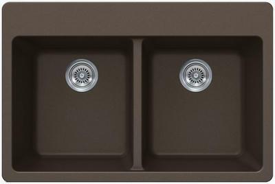 "33"" Lexington Drop-In or Undermount Composite Granite  Double Bowl Sink 378-DOM Mocha"