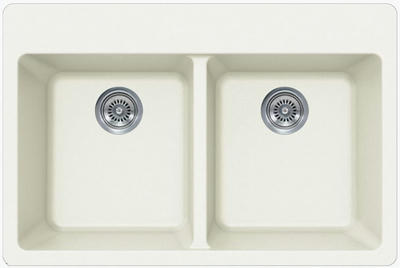 "33"" Lexington Drop-In or Undermount Composite Granite  Double Bowl Sink 374-DOM White"