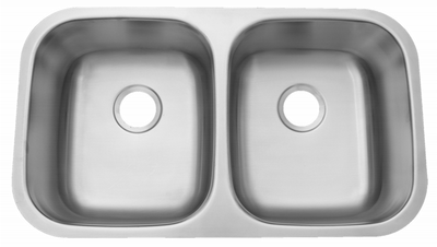 "32"" ADA Undermount Stainless Steel 50/50 Double Bowl Sink: ADA-3218-DB (5.5"" Depth)"