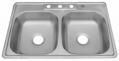 "33 x 22"" ADA Top Mount / Drop-in Stainless Steel Double Bowl Sink: ADA-3322 (6"" Depth)"