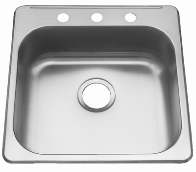 "20"" ADA Top Mount / Drop-in Stainless Steel Single Bowl Sink: ADA-2020 (6"" Depth)"