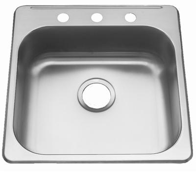 "20"" ADA Top Mount / Drop-in Stainless Steel Single Bowl Sink: ADA-2020 (6"" Depth)"