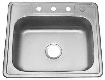 "25"" ADA Top Mount / Drop-in Stainless Steel Single Bowl Sink: ADA-2522 (6"" Depth)"